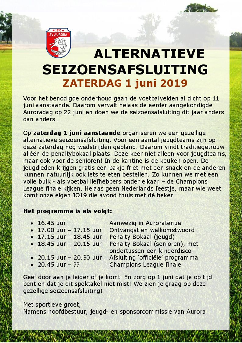 Brief alternatieve seizoensafsluiting 1 juni 2019